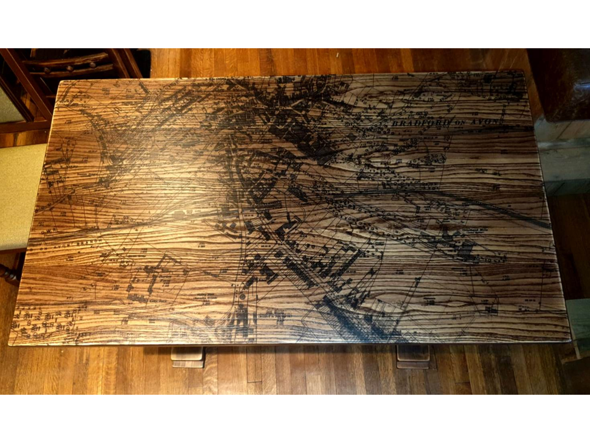 Canal Tavern Trafalgar Table 1220 x 700mm with Canal Map etched into Timber top (2)