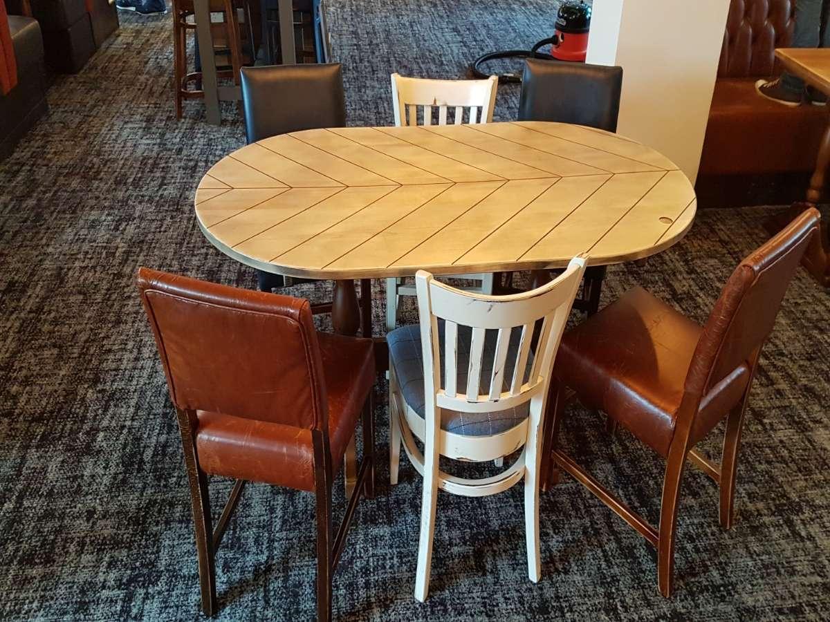 The Old Walnut Tree (72) oval chevron table